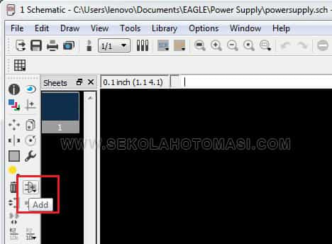 Menambahkan dan Menghubungkan Komponen Ke Lembar Kerja Eagle 7.5.0 Untuk Membuat Power Supply Variabel