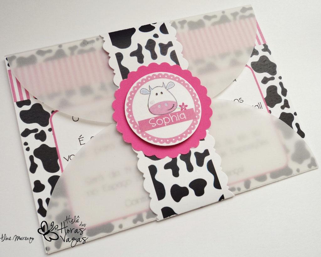 convite artesanal aniversário infantil fazenda fazendinha vaca vaquinha pink rosa menina sítio