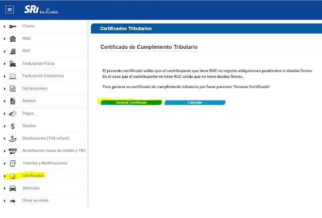 Cómo obtener el Certificado automático de cumplimiento tributario del SRI
