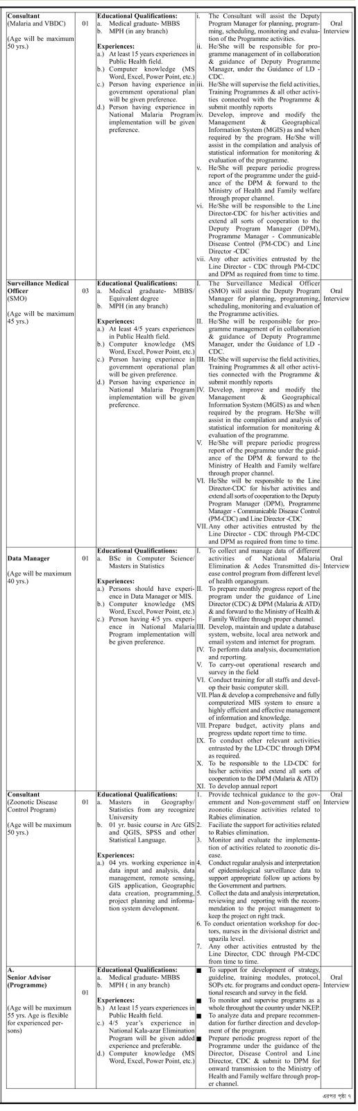 Directorate General of Health Services (DGHS) Job Circular 2018