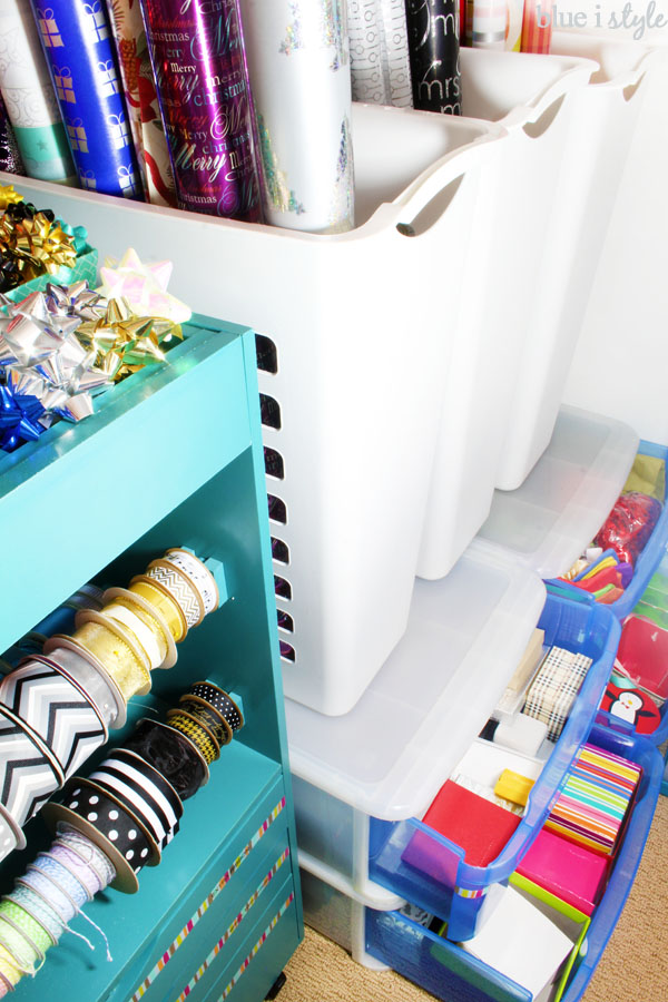 Gift wrap closet organization