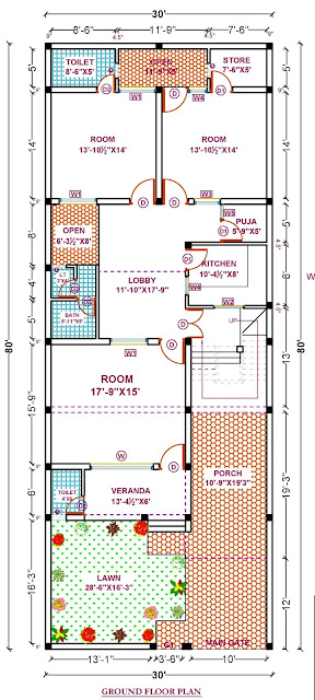 House Plan for 30 X 80 feet plot. 3-BHK (2400 sq ft)