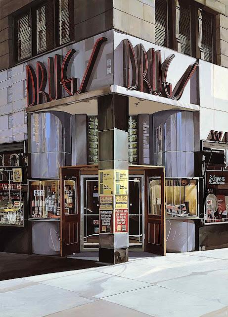 a Richard Estes painting, drug store