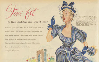 Section from a Selby shoe advertisement, showing a woman in a blue and white striped dress and text discussing Paris and fashion