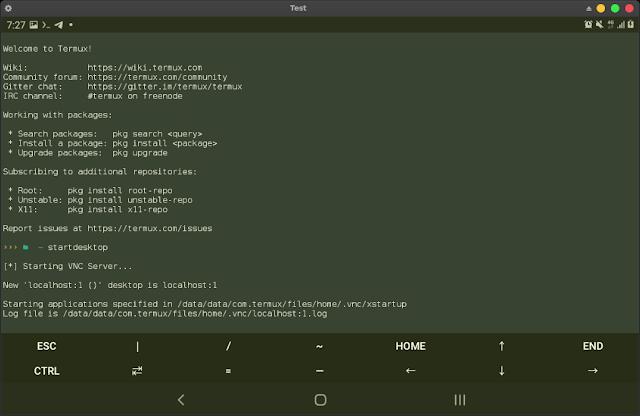 Termux startdesktop