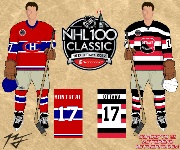 + These are two looks we haven t seen either team throw back to (the Habs  wearing the red version of their WC jerseys and the Sens cup winner jerseys) 52415e4a720