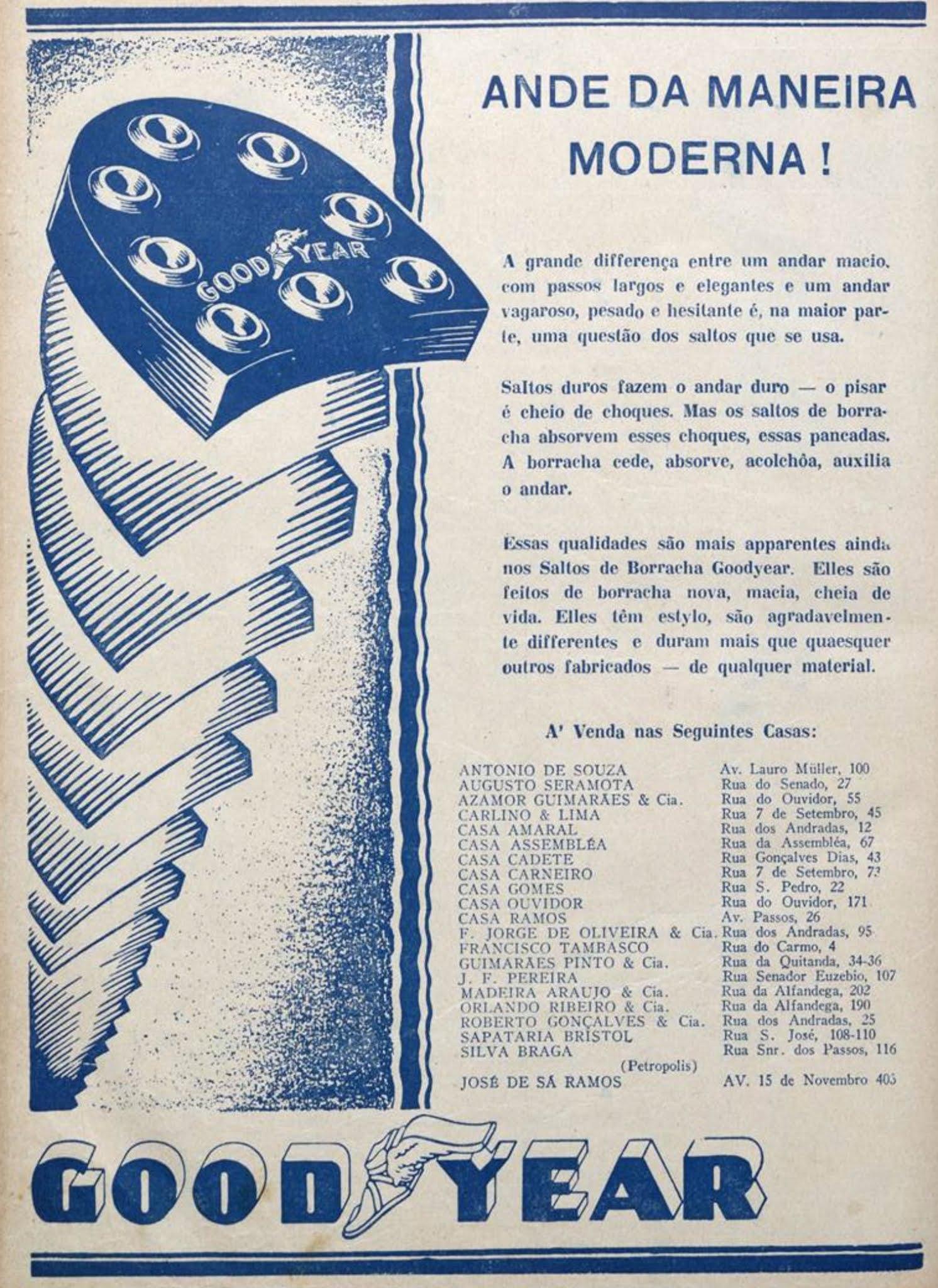 Anúncio de 1928 promovia os saltos de borracha para sapatos da Goodyear