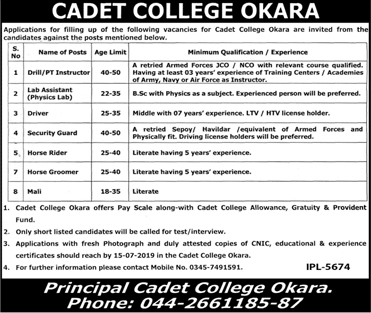 Cadet College Okara Latest Jobs 26 June 2019