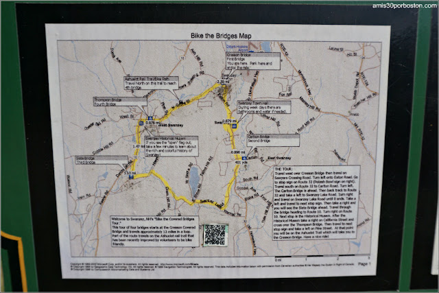 Mapas en el Cartel del Ashuelot y Cheshire Rail Trail en New Hampshire