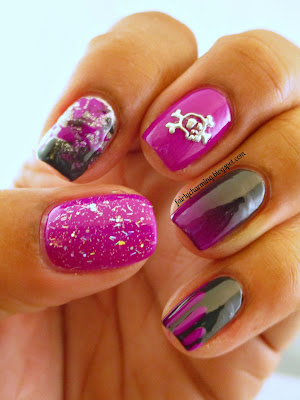Color Club Mrs. Robinson, Charlotte Russe Smoulder, glitter, ombre, skittle, skittlette, stripes, skull, H&M nail stickers, purple, charcoal, grey, silver, holo, nails, nail art, nail design, mani