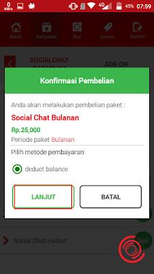 Selanjutnya klik lanjut untuk membeli paket SOSMED dan Chatting unlimited sepuasnya selama 1 bulan