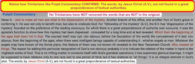 The FALSE Trinitarian Translation of Ephesians 3:9.