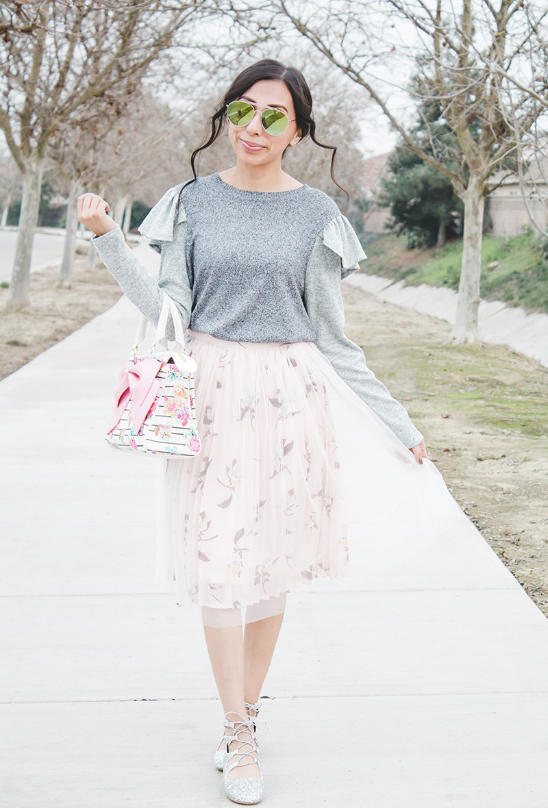 ruffle sweater bow purse tulle skirt modest outfit angle