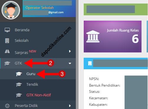 Klik menu GTK kemudian klik guru atau tendik