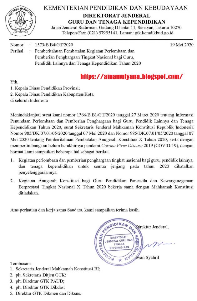Surat Pembatalan Lomba Guru Berprestasi (Gupres) Tahun 2020, Anugrah Konstitusi Tahun 2020 dan Lomba Lainnya