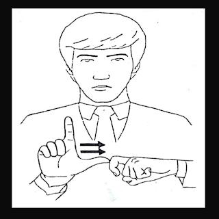 Mão em L tocando em X, simulando o sinal de médico