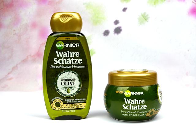Garnier Wahre Schätze - Der wohltuende Vitalisierer Mythishe Olive Shampoo & Tiefenpflege-Maske