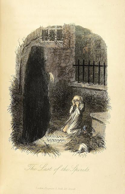 Ο Σκρουτζ και το φάντασμα των Χριστουγέννων του Μέλλοντος σε εικονογράφηση του John Leech, 1843 / The Ghost of Christmas Future, by John Leech, 1843