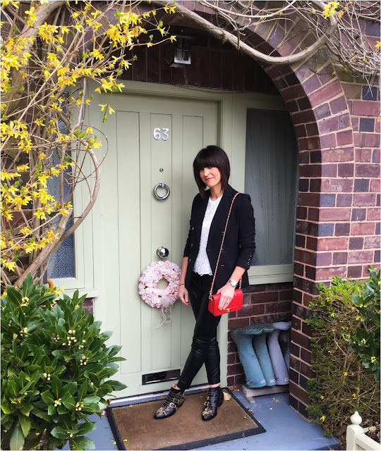 My Midlife Fashion, Zara Lace Top, Marks and Spencer Double Breasted Limited Edition Blazer, leather quilted handbag, French Connection faux leather cropped trousers, chloe studded susanna ankle boots