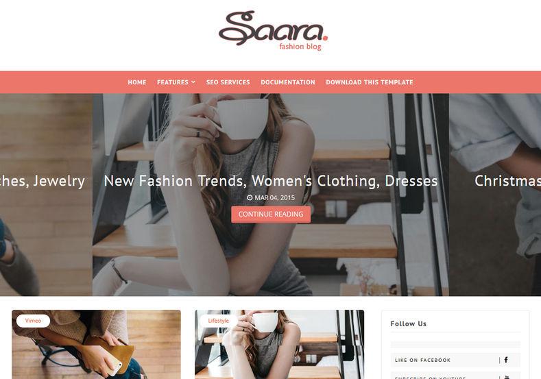 Saara Fashion Blog Blogger Template Blogger Templates Gallery