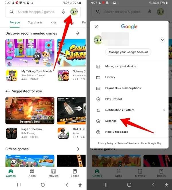 متجر Google Play افتح الإعدادات