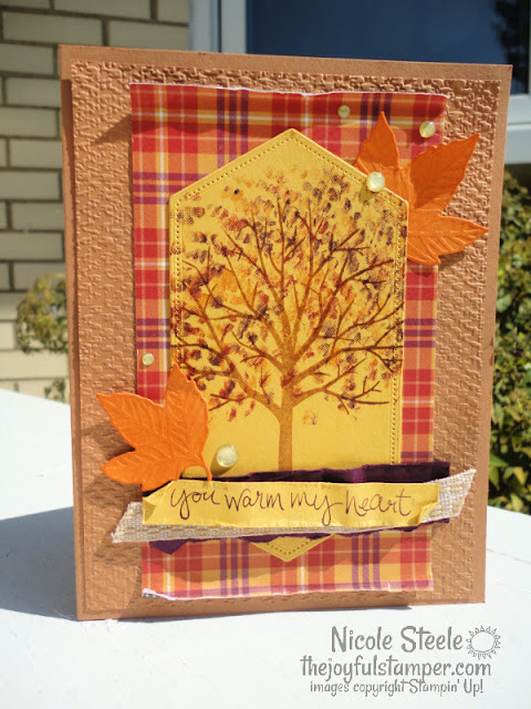 fall card, thinking of you card, stampin' up!, sheltering tree, plaid, how to make a card, learn to make a card, learn to stamp, nicole steele, the joyful stamper, independent stampin' up! demonstrator from pittsburgh pa