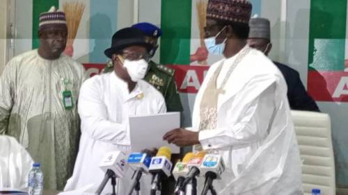 Moment Giadom hands over leadership of APC at party's national secretariat in Abuja