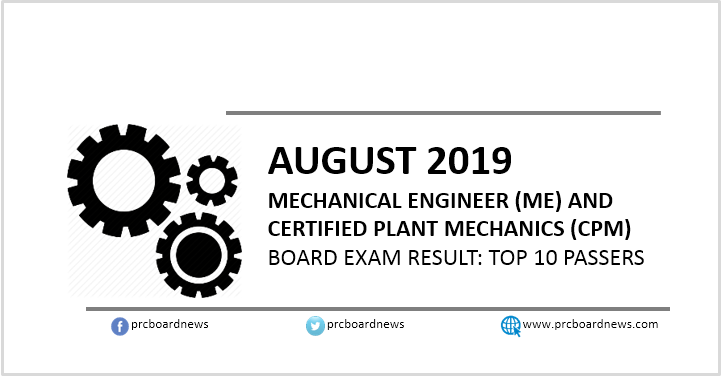 PRC RESULT: August 2019 Mechanical Engineer ME, CPM board exam top 10 passers