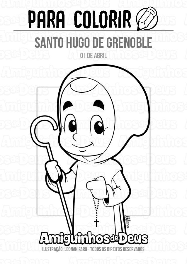 Santo Hugo de Grenoble desenho para colorir