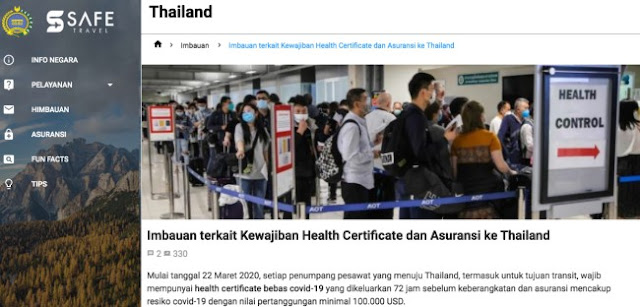 Health Certificate and Insurance Obligations for Aircraft Passenger to Thailand