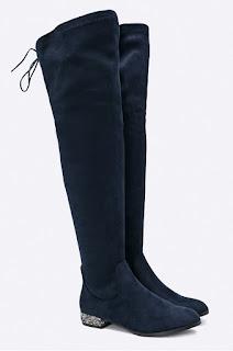 Cizme pana la genunchi bleumarin din piele eco intoarsa cu toc mic de iarna - Corina