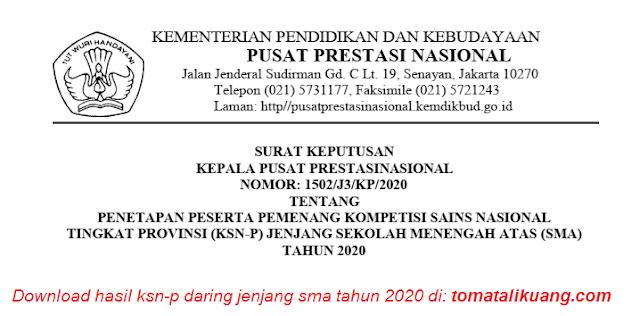 hasil ksn provinsi ksn-p daring sma tahun 2020 semua provinsi pdf tomatalkuang.com
