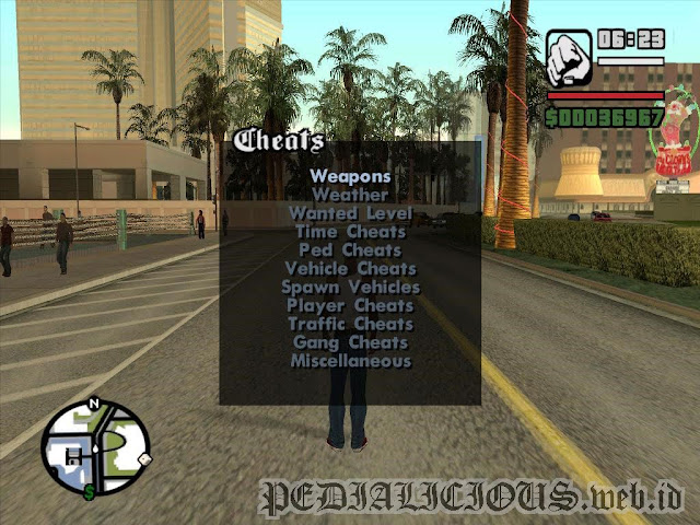 Daftar cheats di mod Cheat Menu