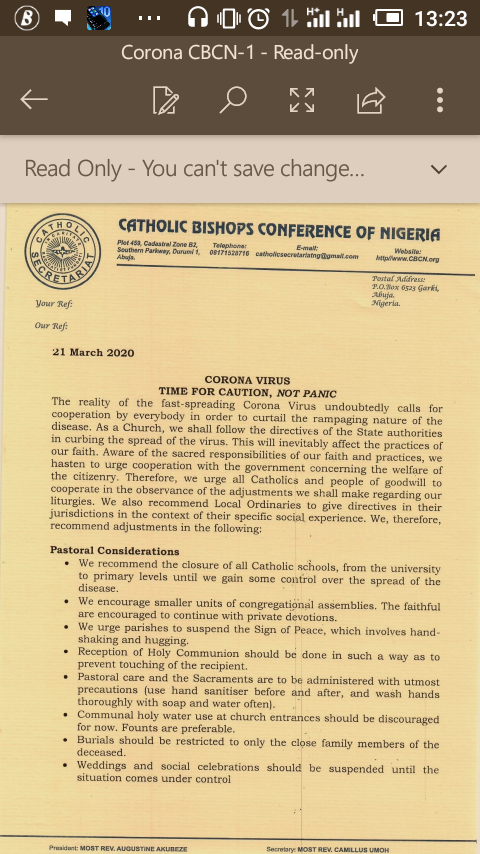 Catholic Bishops of Nigeria Suspense Marriage / Outdoor Mass / Shut down schools ...