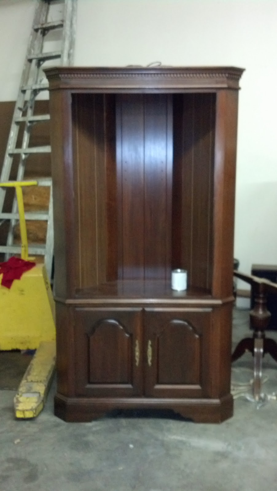 This Is How It Looked When I Got It. Not A Bad Piece, Just No Personality. Corner  Cabinet Painted ...