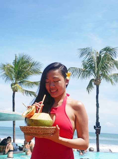 Fresh coconut drink at Potato Head Beach Club
