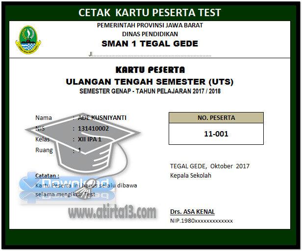 Tampilan Cetak Aplikasi Cetak Kartu Test Jenjang SMA Format Excel