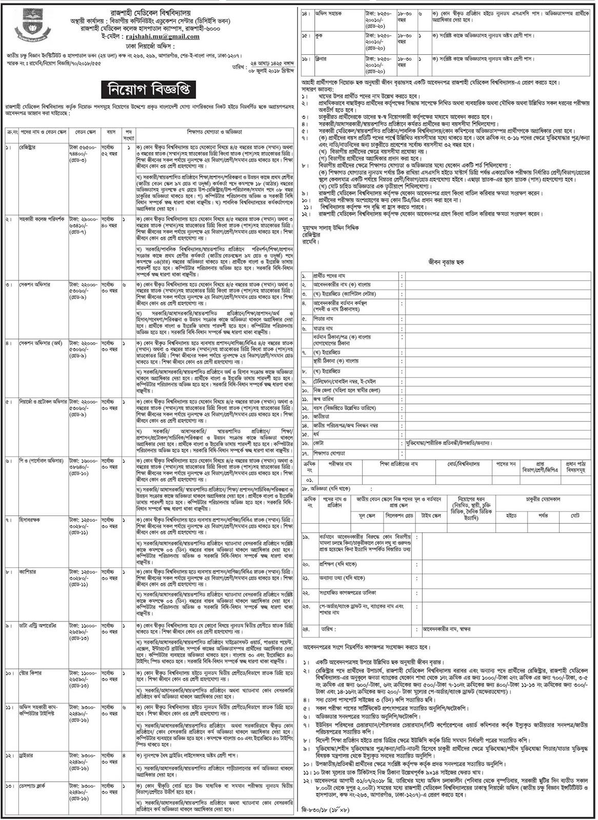 Rajshahi Medical University Recruitment Circular 2018