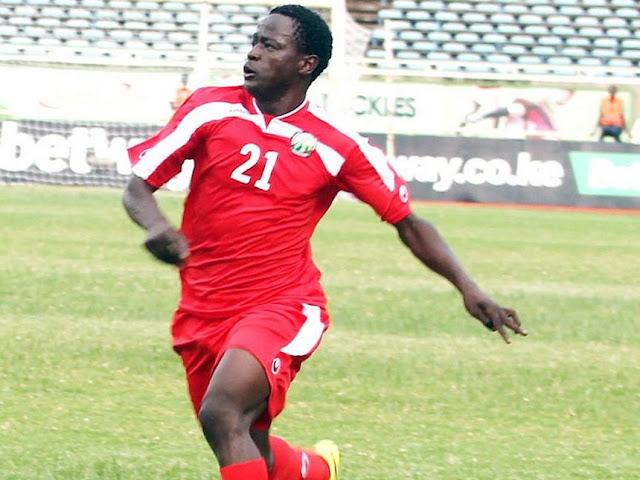Eric 'Marcelo' Ouma kwenye mechi ya kufuzu kwa AFCON dhidi ya Congo. Picha/Enos Teche