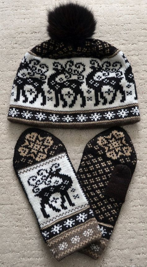 żakardowa czapka z rękawiczkami wzory