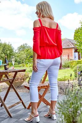 Red Orange Cold Shoulder Tie Front sun Top shirt