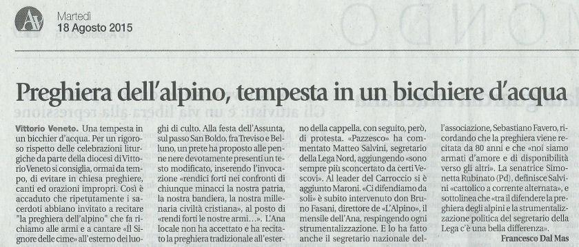 """Chiesa e post concilio  Diocesi """"censura"""" la «preghiera dell Alpino ... 98f70eaa3a51"""