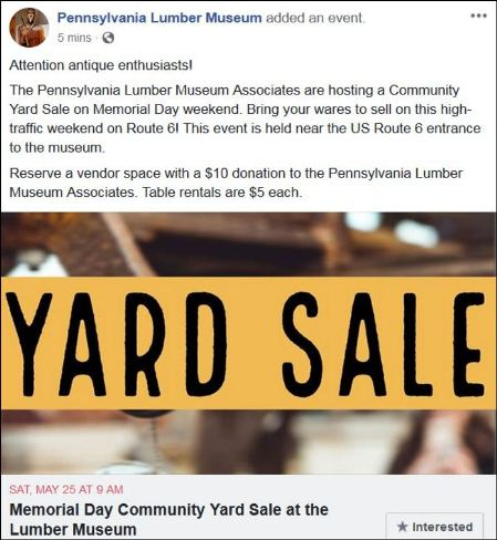 5-25 Community Yard Sale, Lumber Museum, Galeton