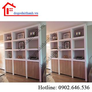Kệ gỗ ngăn phòng khách, thiết kế vách ngăn phòng khách