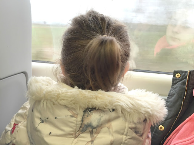 my toddler looking out the train window
