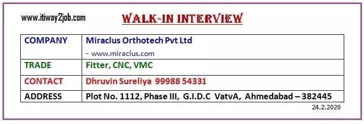 Walk In Interview For Fitter & Electrician