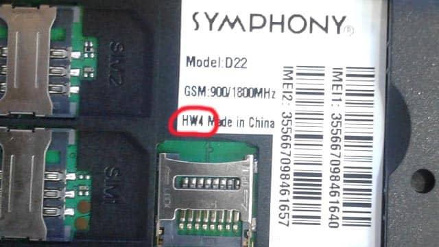 Symphony D22 HW4 Flash File Without Password MT6261