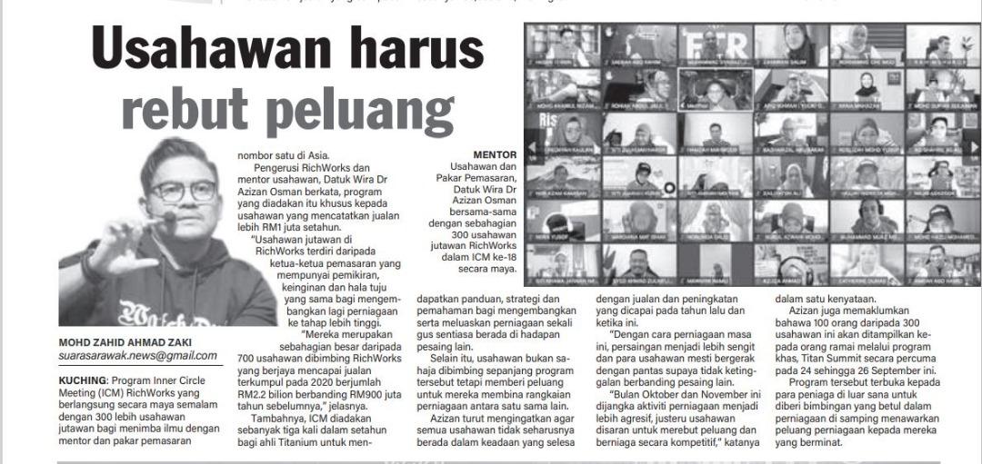 Program Titan Summit 2021 bongkar rahsia kejayaan 100 usahawan - Dr Siti Juariah binti Kusni