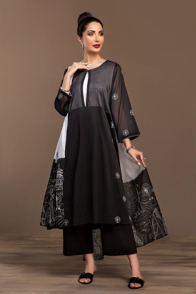 Nishatlinen Black & white Embroidered Voil Suit
