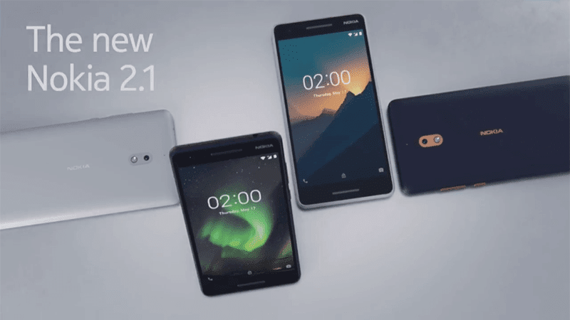 Nokia 2.1 with 5.5-inch screen, dual stereo speakers, and Android Oreo (Go edition)